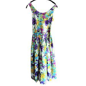 Vintage 80s floral cottage core strappy dress